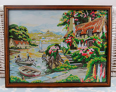 "Vintage Painting By Numbers English Cottage By The River Boat Man 16"" x 13"""