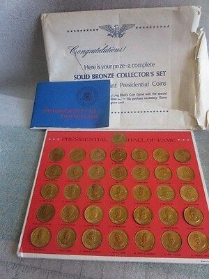 1968 Shell Oil Presidents Bronze Coin Set Carded + Booklet + Sheath