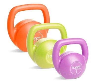 Tone Fitness Vinyl Kettlebells 30lbs Set With DVD Exercise Workout Chart Kit New