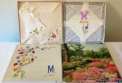 2 Vintage Irish Linen Hanky Sets New in Original Boxes Hand Embroidered