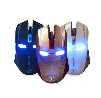 & Marvel IRON MAN WIRELESS USB Gaming MOUSE Mute Button Silent Click 6D DPI FREE