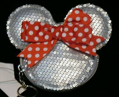 """MINNIE MOUSE Silver Sequin With Bow 5""""x4"""" Zipper Coin Purse Wallet DISNEY Gift"""