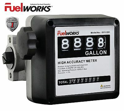 """Fuelworks 1"""" Mechanical Fuel Meter Black for Fuel Transfer Pumps all types"""