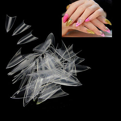 500PCS Natural White False Point Stiletto French Acrylic UV Gel Nail Tips FT