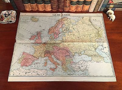 Fine LARGE Original 1914 Antique Color WWI Map WAR IN EUROPE World War I