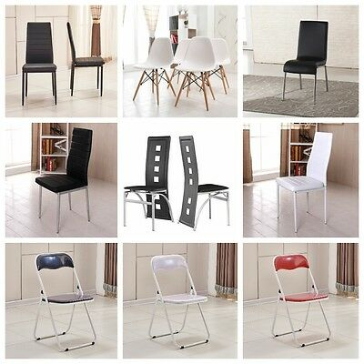 2 Or 4 Dinning Chairs Black White Brown Leather Steel Chrome High Back Soft New