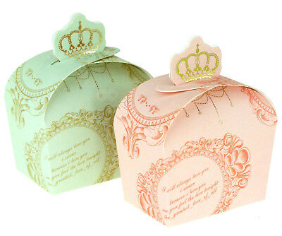 50/100pcs Crown Wedding Party Favour Candy Boxes Cake Birthday Anniversary Bag