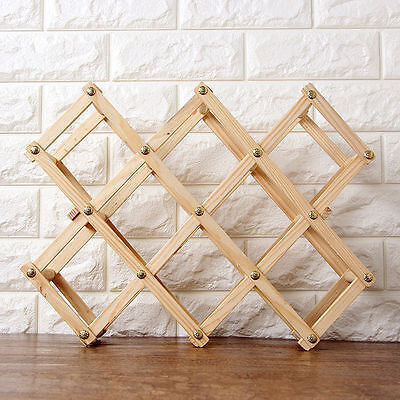Wood Wine 8 Bottle Rack Storage Holder Wood Shelf Decor Interior Organizer vee