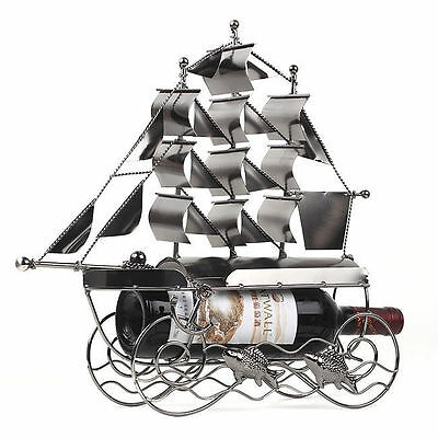 Steel Wine Bottle Rack Sailboat Type Storage Holder Shelf Interior Organizer vee