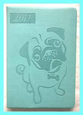 2017 CuTe Blue PUG DIARY Planner Hardback Book Orgniser Gift Dog Notepad FREEP