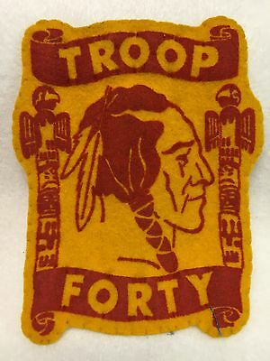 Boy Scouts- vintage TROOP FORTY Indian Brave felt patch