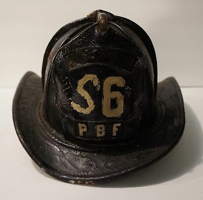 Super Rare Vintage Pre- 1947 Pittsburgh (PBF) Cairnes Leather Fire Helmet