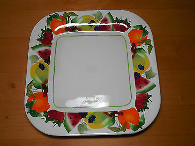 """Sonoma Life+Style FRUIT PUNCH Square Dinner Plate 11""""  1 ea   4 available"""