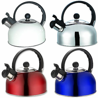 2.5L Stainless Steel Whistling Kettle Tea Coffee Electric Gas Hob Stove Camping