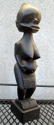 African Tribal Carved Wood Sculpture Figurine of Pregnant Woman Fertility Mother