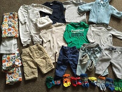 Bundle Of Baby Boys Clothes Age 0-3 Months Tops Jeans Socks Shoes Hat Jacket