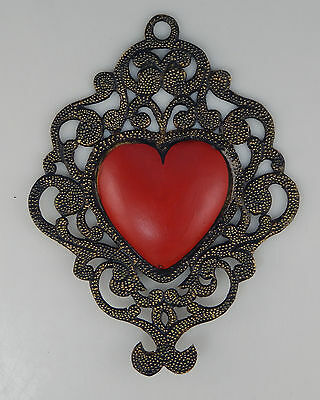 Mexican Tin Heart Wall Hanging Hand Punched Metal Folk Art Filigree Heart # 04