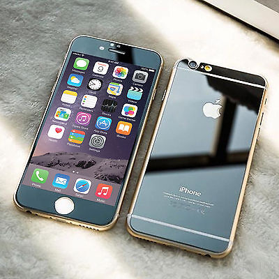 Front & Back Mirror Effect Black Tempered Glass Screen Protector iPhone 5 5S
