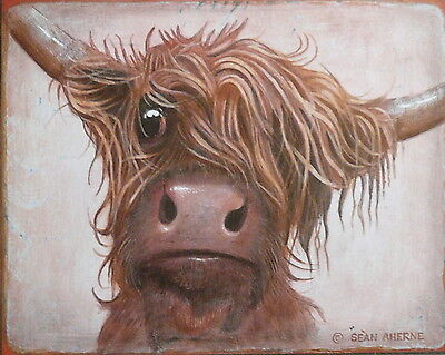 Red Scottish Highland Cow Shabby Chic Wooden Sign Plaque Picture