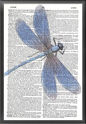 Blue Dragonfly Altered Art Print Upcycled Vintage Dictionary Page