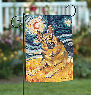NEW Toland - Van Growl German Shepherd - Starry Night Puppy Dog Garden Flag