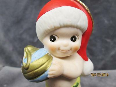 Vintage Bisque Porcelain Baby With Ornament & Bear Christmas Ornament Taiwan