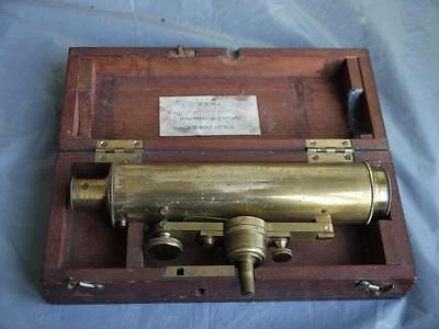 RARE BOXED ANTIQUE 1880c BRASS TRANSIT SURVEY TOOL WITH LEVEL BY T COOKE OF YORK