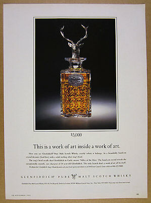 1991 Glenfiddich Scotch Stag's Head Crystal Decanter photo vintage print Ad