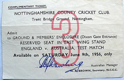 AUSTRALIA IN ENGLAND 1956 1st Test AUTOGRAPHED TICKET