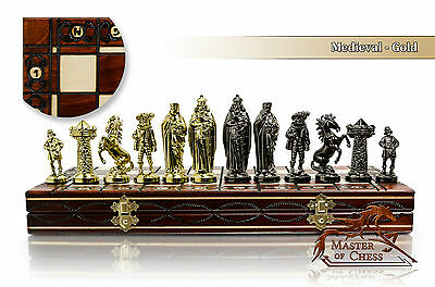 """Luxury MEDIEVAL GOLD Chess Set 40cm / 16"""" Wooden Board / Metalized PIeces"""