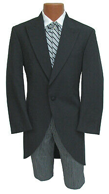 Men's Black Morning Coat Cutaway with Optional Hickory Striped Pants Tails