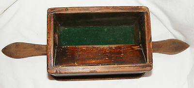 Antique Wooden Two Handled Collection Box Offertory Alms, Welsh Chapel Church