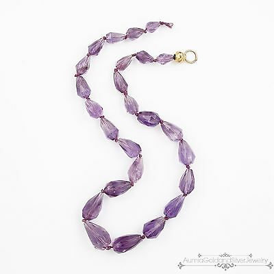 Antique Vintage Deco Sterling Silver Chinese Repair Amethyst Bead Necklace!