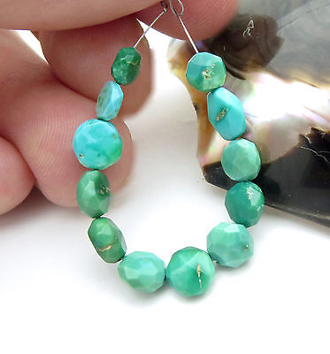 12 Rare Sleeping Beauty Bright Gemmy Green Blue Turquoise Faceted Disk Beads