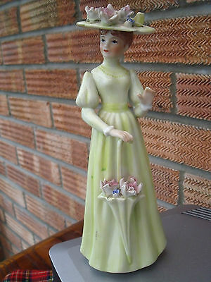 Lady Figurine with Parasol & Wearing a Flower Bonnet