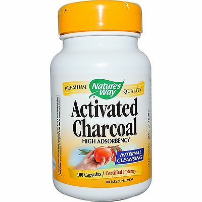 Activated Charcoal 100 Caps 560 Mg Natures Way Certified Potency