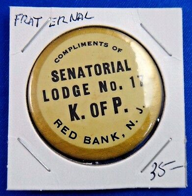 Knights of Pythias Senatorial Lodge No 17 Red Bank NJ Fraternal Pinback Button