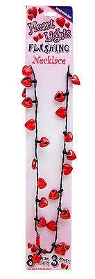 FLASHING Hearts LIGHT UP Valentine red HEARTS NOVELTY Gag Necklace PARTY favors