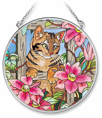 "Cat Fence Sun Catcher AMIA Pink Flowers Hand Painted Glass 4.5"" Round New Tabby"