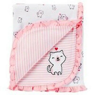"Carter's Just One You Baby Girls 2 - Ply Reversible Receiving Blanket Pink ""NEW"""