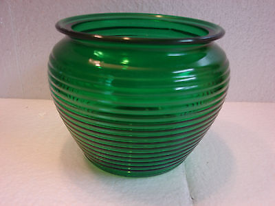 National Potteries OHIO Ribbed Beehive Emerald Green Glass Planter Vase Vintage