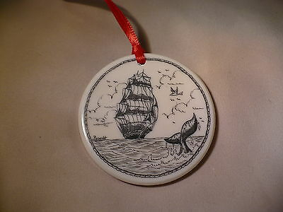Scrimshaw Resin Christmas Ornament Ship - Whale Tail