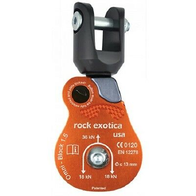"Rock Exotica Omni Block 1.5"" single pulley ARBORIST 4 rigging, rescue SHACKLE"