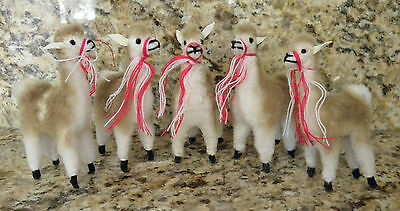1 Lot Of 5 Brand New Alpaca Llama Standing Position Figurines 4 Inches Tall