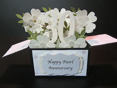 Handmade 3D Card in a box -30th/Pearl Anniversary/Birthday-ivory(pearl) blossoms