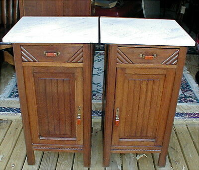 Antique PAIR French Art Deco Oak Marble Top Cabinets Tables Nightstands Bakelite