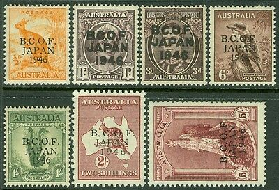 AUSTRALIA : 1946-48. Stanley Gibbons #J1-7 Fresh set. VF, Mint OG LH. Cat £190.