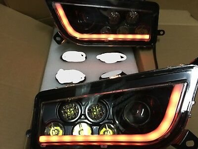 14-18 Polaris Rzr Xp 1000 & Turbo -Black & Orange Angel Eye Headlights Kit -Usa