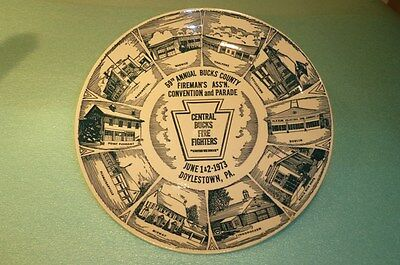 Vintage 1973 Bucks County Pa Firemans Assoc Convention/ Parade Commerative Plate