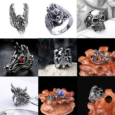 Men's Stainless Steel Silver Vintage Cool Gothic Punk Biker Finger Rings Jewelry